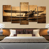 Vintage Aircraft Old Antique Airplane Framed 5 Piece Canvas Wall Art Painting Wallpaper Decor Poster Picture Print