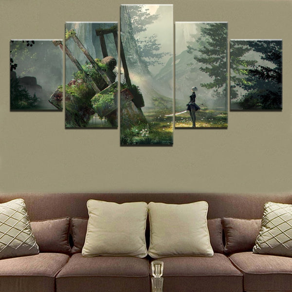NieR Automata 2B Framed 5 Piece Video Game Canvas Wall Art Image Picture Wallpaper Mural Artwork Poster Decor Print Painting Photography