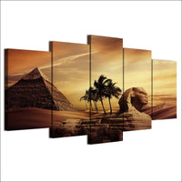 Pyramids In Egypt Sphinx Sunset Framed 5 Piece Canvas Wall Art - 5 Panel Canvas Wall Art - FabTastic.Co