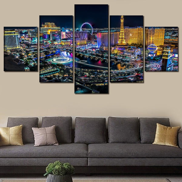 Las Vegas Nevada City Night Time Skyline USA America Cityscape Framed 5 Piece Canvas Wall Art - 5 Panel Canvas Wall Art - FabTastic.Co