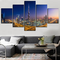Burj Khalifa Dubai UAE City At Night Framed 5 Piece Canvas Wall Art Painting Poster Picture Print Photo Artwork Decor