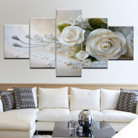 White Rose Flowers Paintings Framed 5 Piece Canvas Wall Art - 5 Panel Canvas Wall Art - FabTastic.Co