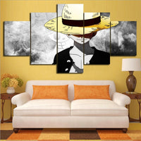 Monkey D. Luffy Anime Cartoon Framed 5 Piece Canvas Wall Art Painting Wallpaper Poster Picture Print Photo Decor