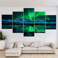 Blue & Green Aurora Borealis Night Sky Iceland Jokulsarlon Northern Lights Mountain Lake Framed 5 Piece Canvas Wall Art - 5 Panel Canvas Wall Art - FabTastic.Co