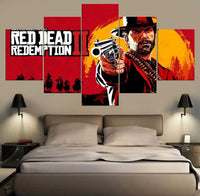 Red Redemption Western Video Game 5 Piece Canvas Wall Art - 5 Panel Canvas Wall Art - FabTastic.Co
