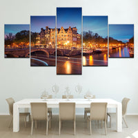 Amsterdam City Buildings At Night Scenery Framed 5 Piece Canvas Wall Art - 5 Panel Canvas Wall Art - FabTastic.Co