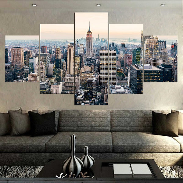 Downtown Manhattan NYC New York City Skyscrapers Skyline Cityscape Framed 5 Piece Canvas Wall Art - 5 Panel Canvas Wall Art - FabTastic.Co