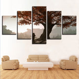 Samurai Under Maple Tree Manga Anime Cartoon Framed 5 Piece Canvas Wall Art Painting Wallpaper Poster Picture Print Photo Decor