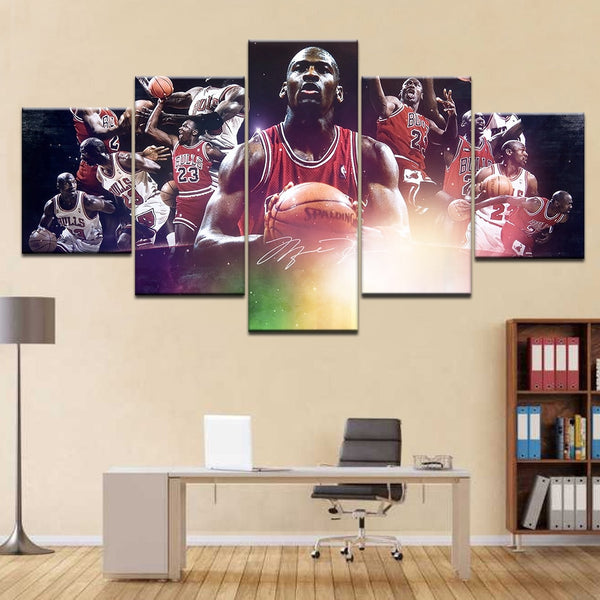Michael Jordan Chicago Bulls Basketball Sports Framed 5 Piece Canvas Wall Art - 5 Panel Canvas Wall Art - FabTastic.Co