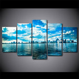 Toronto Ontario Canada City Skyline Cityscape Framed 5 Piece Canvas Wall Art Painting Wallpaper Poster Picture Print Photo Decor