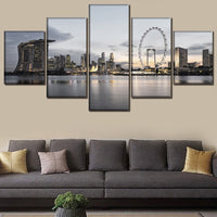 Singapore City Skyscrapers Skyline Clouds Framed 5 Piece Canvas Wall Art - 5 Panel Canvas Wall Art - FabTastic.Co