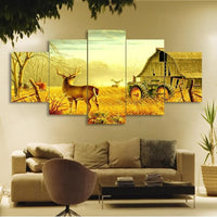 Deer On Farm In Forest With Tractor Painting 5 Piece Canvas Wall Art - 5 Panel Canvas Wall Art - FabTastic.Co