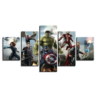 Movie Characters & Super Hero Avengers Captain America Thor Hulk Iron Man Framed 5 Piece Canvas Wall Art