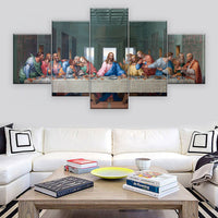 The Last Supper By Leonardo Da Vinci Christian Jesus Christ & Apostles Religion Framed 5 Piece Canvas Wall Art Print Photo Decor Painting Wallpaper Poster Picture