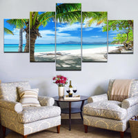 Beautiful Tropical Sea Maldives Islands Palm Tree Ocean White Sandy Beach Framed 5 Piece Canvas Wall Art - 5 Panel Canvas Wall Art - FabTastic.Co