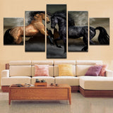 Brown & Black Animal Horses Framed 5 Piece Canvas Wall Art - 5 Panel Canvas Wall Art - FabTastic.Co