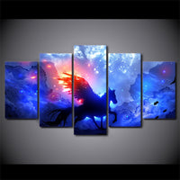 Unicorn Space & Stars Fantasy Framed 5 Piece Canvas Wall Art