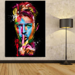 David Bowie Celebrity Singer Musician Artist Colorful Abstract Framed 1 Piece Music Canvas Wall Art Painting Wallpaper Decor Poster Picture Print