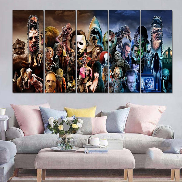Horror Movie Characters Framed 5 Piece Canvas Wall Art Painting Wallpaper Poster Picture Print Photo