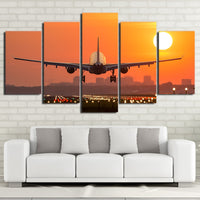 Airplane Sunset Sunrise Cityscape Landing Framed 5 Piece Canvas Wall Art - 5 Panel Canvas Wall Art - FabTastic.Co