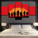 Red Dead Redemption Western Game Framed 5 Piece Panel Canvas Wall Art Print