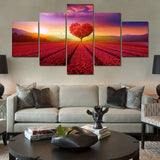 Heart Tree Flower In Field Framed 5 Piece Canvas Wall Art Picture Painting Print Decor