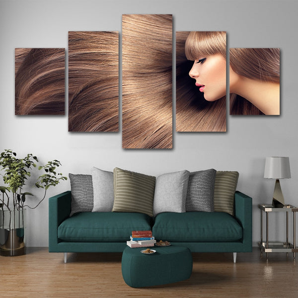 Pretty Girl With Nice Hair For Nail Salon Makeup Or Beauty Shop Framed 5 Piece Canvas Wall Art - 5 Panel Canvas Wall Art - FabTastic.Co