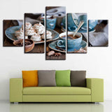 Tea & Snacks Coffee Shop Framed 5 Piece Food & Drink Canvas Wall Art Painting Wallpaper Poster Picture Print Photo Decor