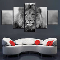 Black & White Lion Framed 5 Piece Canvas Wall Art - 5 Panel Canvas Wall Art - FabTastic.Co