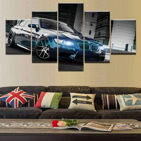 BMW M3 Black Sport Car Framed 5 Piece Canvas Wall Art - 5 Panel Canvas Wall Art - FabTastic.Co