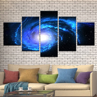 Outer Space Star Filled Galaxy Universe Framed 5 Piece Panel Canvas Wall Art Print - 5 Panel Canvas Wall Art - FabTastic.Co