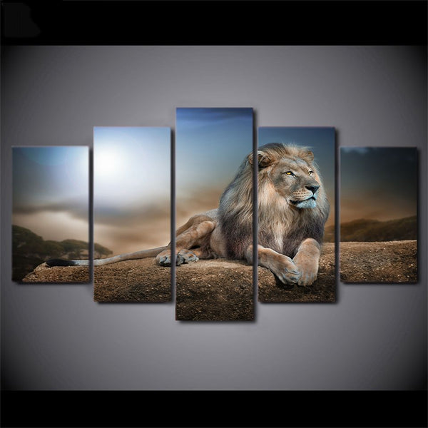 Male Lion On Rock 5 Piece Framed Canvas