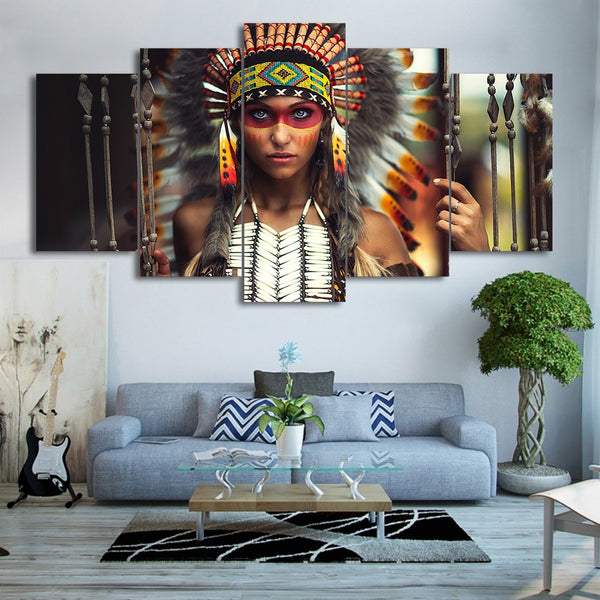 Native American Indian Girl With Feathers Framed 5 Piece Canvas Wall Art - 5 Panel Canvas Wall Art - FabTastic.Co