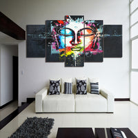 Artistic Colorful Abstract Buddha Buddhism Religion Framed 5 Piece Canvas Wall Art Painting Wallpaper Poster Picture Print Photo Decor