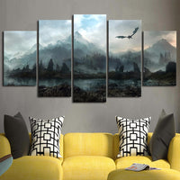 Game Of Thrones Dragon Skyrim Painting Framed 5 Piece Canvas Wall Art - 5 Panel Canvas Wall Art - FabTastic.Co