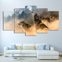 Howling Wolves Animals in Natural Mountain Tree Clouds Wolf Framed 5 Piece Canvas Wall Art