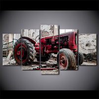 Old Vintage Antique Tractor Framed 5 Piece Canvas Wall Art Painting Wallpaper Poster Picture Print Photo Decor