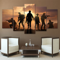 Patriotic US Military Soldiers Framed 5 Piece Panel Canvas Wall Art Print