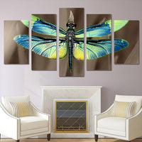 Dragonfly Wings Insect Nature Framed 5 Piece Canvas Wall Art Painting Wallpaper Poster Picture Print Photo Decor