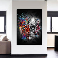 Colorful Tiger & Skull Modern Abstract Framed 1 Panel Piece Canvas Wall Art Painting Wallpaper Poster Picture Print Photo Decor