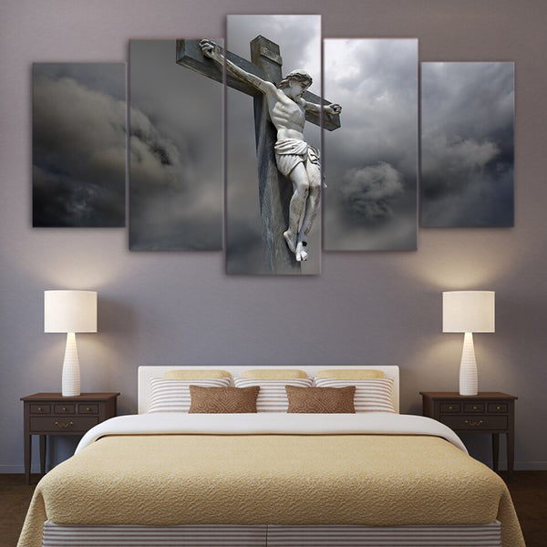 Jesus Statue Cross Christian Framed 5 Piece Canvas Wall Art Painting Wallpaper Poster Picture Print Photo Decor