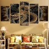 Chinese Golden Dragon Framed 5 Piece Canvas Wall Art Picture Painting Print Decor