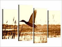 Flying Duck Goose Bird Framed 4 Piece Canvas Wall Art Painting Wallpaper Poster Picture Print Photo Decor