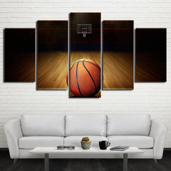 Basketball Sport Court & Net Framed 5 Piece Canvas Wall Art - 5 Panel Canvas Wall Art - FabTastic.Co