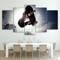 Skateboard In Sky With Trees Sports Framed 5 Piece Canvas Wall Art - 5 Panel Canvas Wall Art - FabTastic.Co