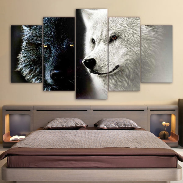 Black & White Wolf Wolves Couple Framed 5 Piece Canvas Wall Art