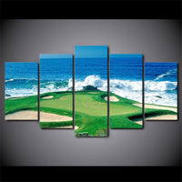Golf Course Waves Crashing On Coast Framed 5 Piece Canvas Wall Art - 5 Panel Canvas Wall Art - FabTastic.Co