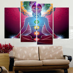 Yoga Buddha Hindu Meditation Chakra Spirituality Framed 4 Piece Canvas Wall Art Painting Wallpaper Poster Picture Print Photo Decor