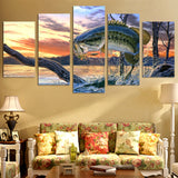 Fish Jumping Out Of Lake Water Nature Fishing Framed 5 Piece Canvas Wall Art