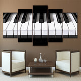 Piano Keys Music Framed 5 Piece Canvas Wall Art - 5 Panel Canvas Wall Art - FabTastic.Co
